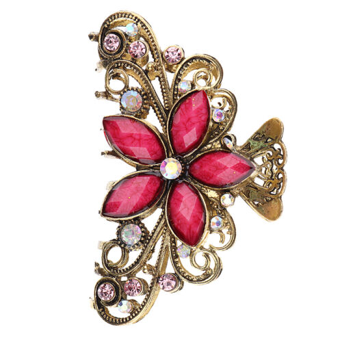 Vintage Metal Hair Claw Crystal Butterfly Flower Hair Clip Claw Clamps Red