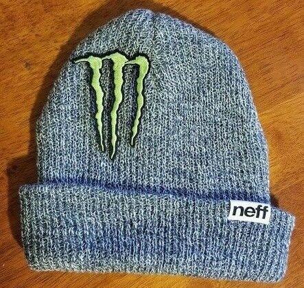 5bd38bd0d50d9 Monster Energy Beanie Athlete Dew Tour Winter Sponsor X Games Black Gray  Neff SB