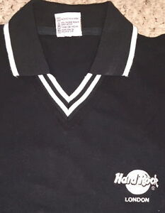 Hard-Rock-Cafe-LONDON-Collared-POLO-Shirt-MENS-Size-LARGE-22-034-x19-034-Black-w-White