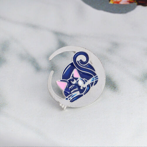 Belle LUNE CHAT BLEU motif émail broche pin badge Fashion Jewelry Kid cadeau