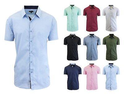 Men Short Sleeve Shirt Casual Slim Inner Contrast Button Down Dress Shirt