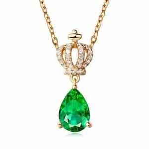 Charm-925-Sterling-Silber-Halskette-Smaragd-Edelstein-Anhaenger-Damen-Schmuck-Neu