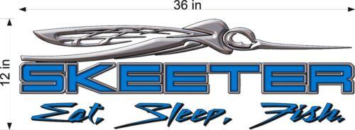 "36/"" Vinyl Vehicle Window Decal Fish Gear Fish BLUE SKEETER Boats Eat Sleep"
