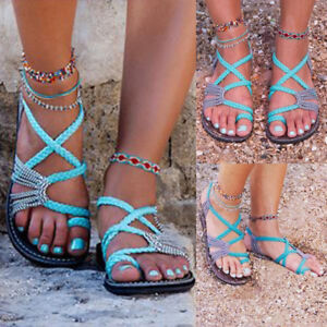 Womens-Bandages-Casual-Beach-Shoes-Summer-Bohemian-Flat-Flip-Flops-Sandals-New