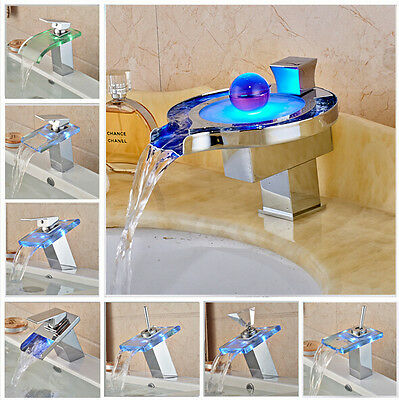 LED Light Bathroom Waterfall Led Faucet Glass Waterfall Wash Basin Mixer Tap