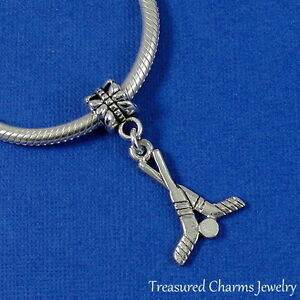 Silver-HOCKEY-STICKS-AND-PUCK-Dangle-Bead-CHARM-fits-EUROPEAN-Bracelet