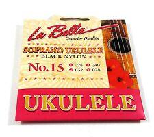 La Bella Ukulele Strings Soprano No. 15 Black Nylon 028-032-040-028