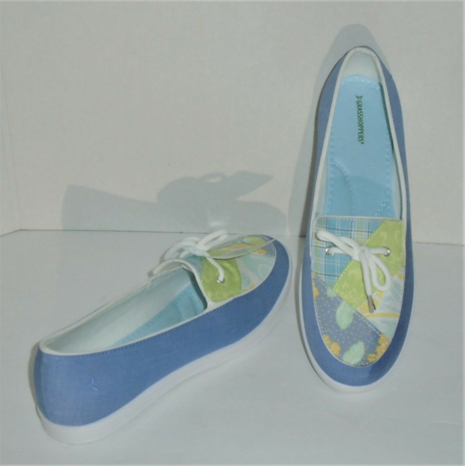 GRASSHOPPERS PURE FIT COMFORT SLIP ON SHOES - blueE & FLORAL - SIZE 9½ – NWT