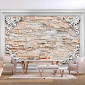 vlies fototapete steinoptik steinwand 3d effekt tapete wandbilder xxl wohnzimmer ebay. Black Bedroom Furniture Sets. Home Design Ideas