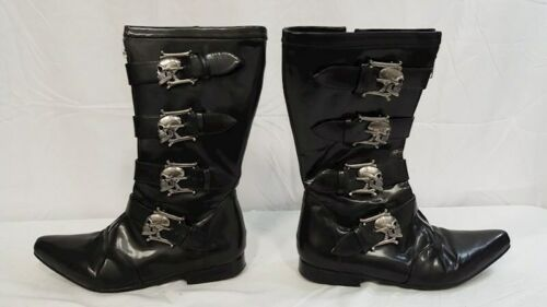 Demonia Faux Leather Skulled High Boots Men Women