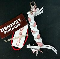 Leather Key Chain Whip For Motorcycle White & Pink Braided Chrome Plated Clasp