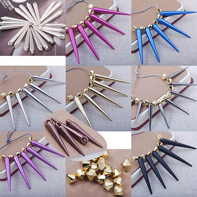 40x Acrylic sticks spikes rivet taper charms spacer bead bicone waves findings