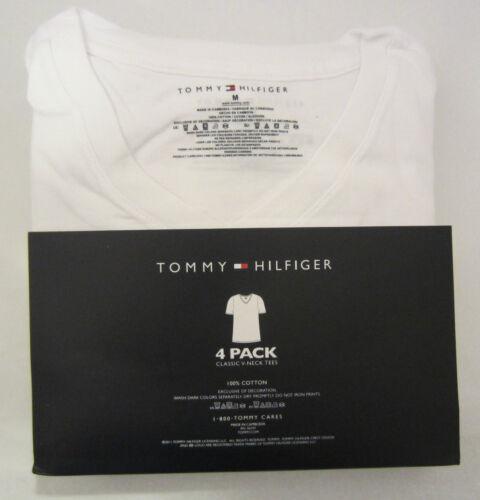 4 TOMMY HILFIGER MEN/'S COTTON WHITE V NECK T SHIRTS UNDERSHIRTS S M L XL NWT
