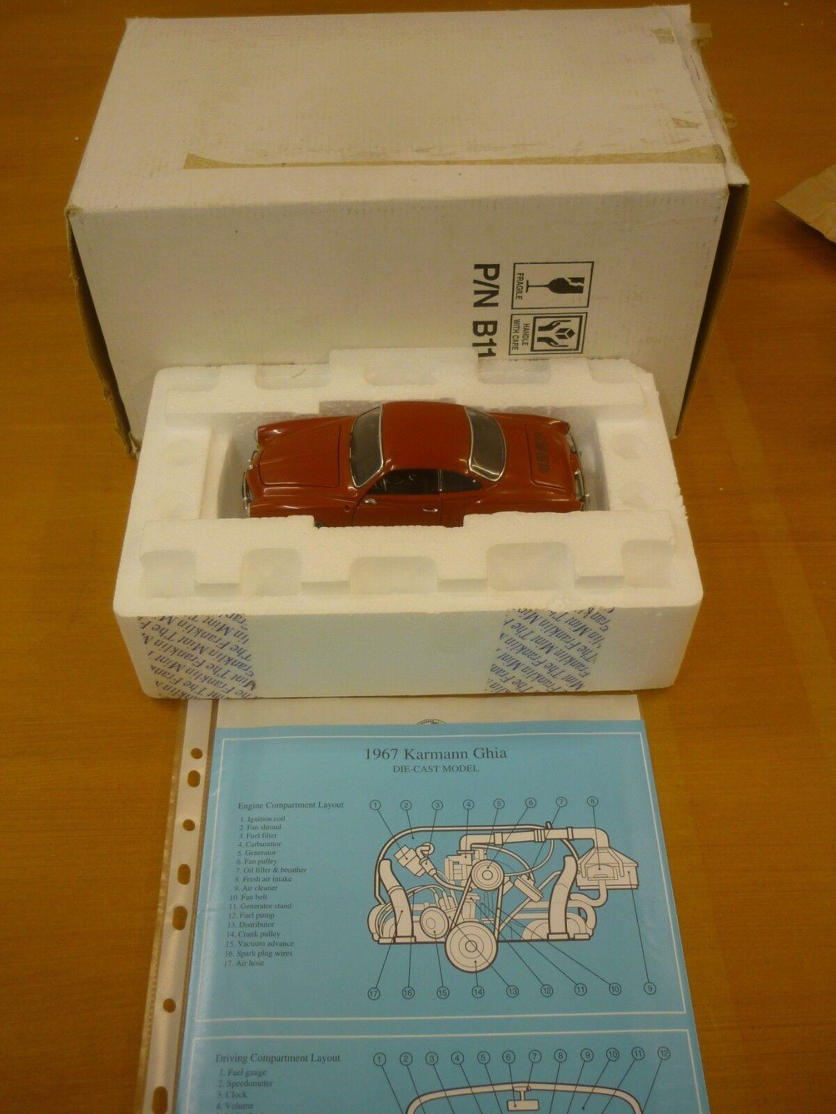 Die franklin - mint - modell ein 1967 volkswagen karmann ghia.boxen, papiere