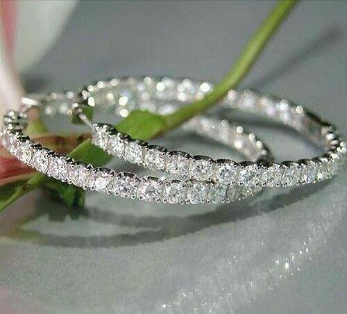 925 Sterling Silver 4.10 Carat Round Cut Diamond Hoop Earrings 14k White Gold FN