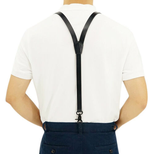 "Black Y back Genuine Leather Belt Loop 0.7/"" Width Suspenders with 3 Snap Hooks"
