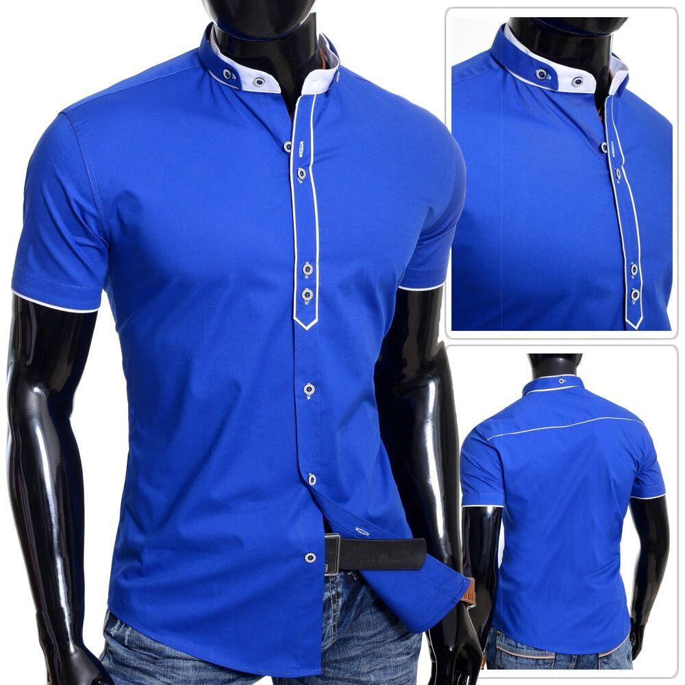 Men's Royal Bleu Chemise à Manches Courtes élégant Grand-père Col Coton Blanc Poignets Uk