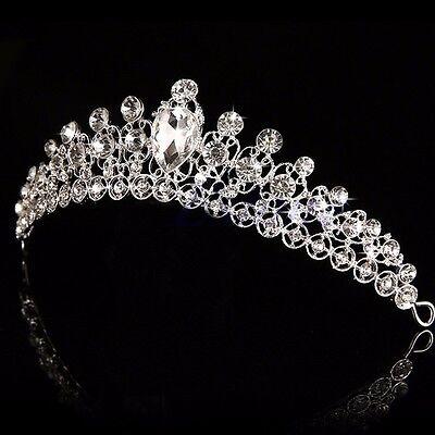 Bridal Bridesmaid Crystal Rhinestone Diamante Crown Tiara Wedding Prom Headband