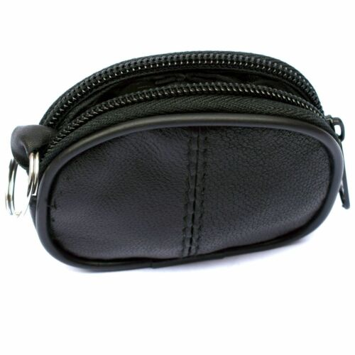 Mens Ladies Small Soft Genuine REAL Leather Key Holder Case Coin Purse Zip Pouch