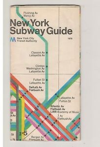 Massimo Vignelli Subway Map 1978.Details About 1978 New York City Subway Massimo Vignelli Subway Map Guide Nycta