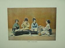 LE JAPON Types Costumes et Moeurs PHOTOGRAVURE une salle a manger