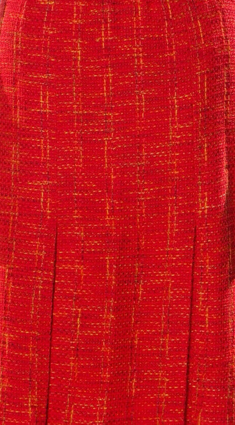 St. John Couture Vintage Red Pleated Tweed Skirt 4 - image 5