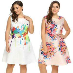 Women Sleeveless Floral Print Casual Cocktail Party A Line