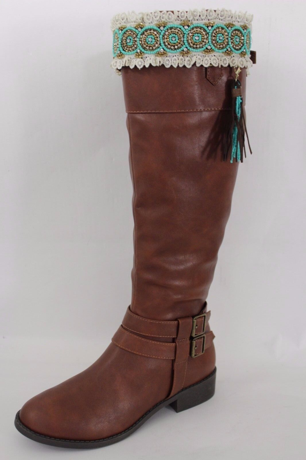 Women Turquoise Blue Gold Beaded Native Boot Topper White Lace Pair Brown Fringe