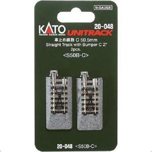 Kato-20-048-Rail-Fin-de-Voie-Single-Track-With-Bumper-C-50mm-2pcs-N