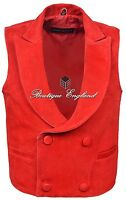 'edwardian' Men's Red Steam Punk Victorian Real Suede Leather Waistcoat Vest