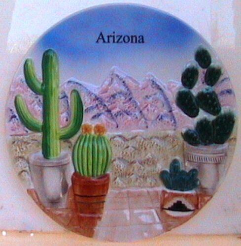 Decorative ceramic 8½ souvenir Plate Desert garden raised potted cacti mountain