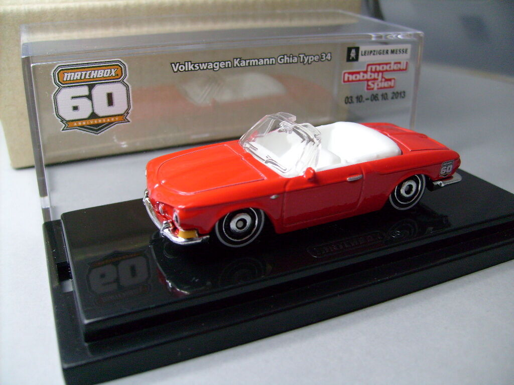 Matchbox 2013 Leipzig Volkswagen Karmann Ghia Type 34 Congreenible Red with Crystal Case