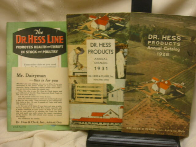 3 Vintage Booklet 1928, 1931, Dr Hess & Clark Products Ashland, Ohio Live Stock