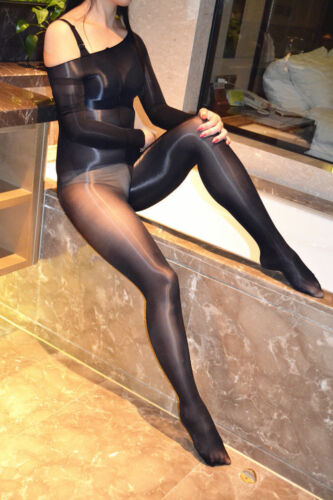 Women/'s Transparent Bodystocking Shiny Glossy Bodysuit Sheer Open Crotch Tights