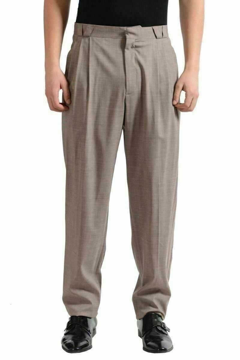 Versace Men's Beige Pleated Wool Dress Pants US 32 IT 48