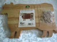 Primitive Country Wooden Cow Checkerboard Game Solid Wood Tole Painting Craft