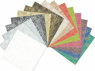 2 Serviettes en papier Gaufrées Décor Dentelle Volutes Paper Napkins Lace Royal