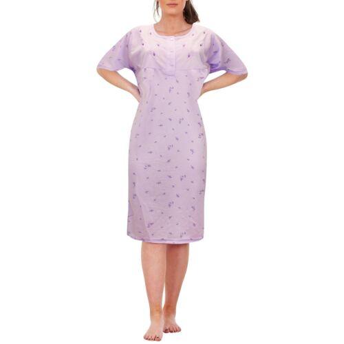 Ladies Long Nightdress Short Sleeve Button Floral Printed Nightie Womens Pyjama