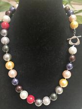 "Pretty tribe 12mm Multicolor Sea Shell Pearl Necklace 18/"" AAA"