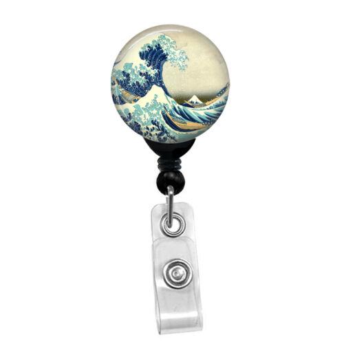Hokusai Great Wave Off Kanagawa Retractable Badge Reel Custom ID Badge Holder