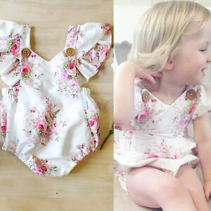 bafb9ab585f9 Newborn Baby Girls Lace Floral Bodysuit Romper Jumpsuit Clothes ...