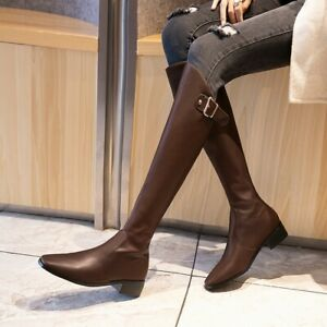 plus size ladies riding boots knee high block heels back
