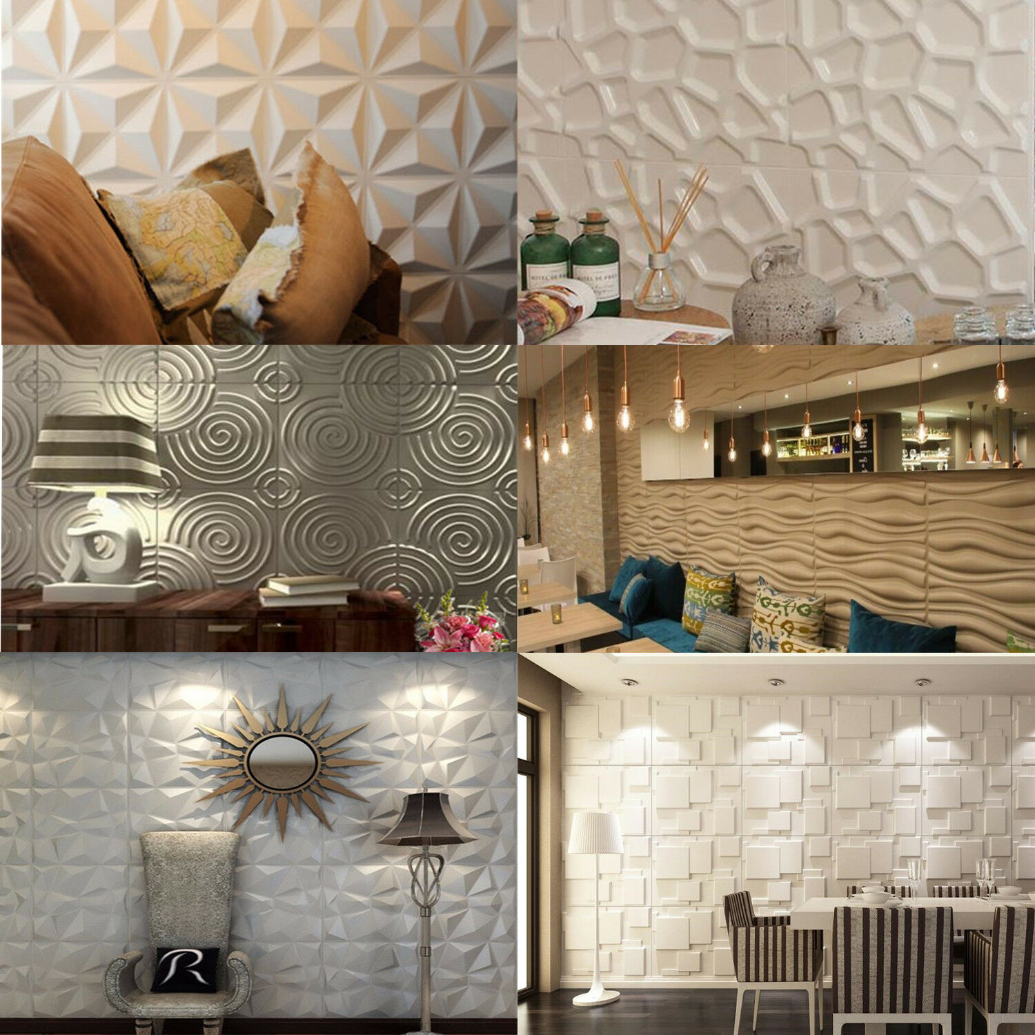 NEW PVC 3D Wall panel Decorative Wall Ceiling Tiles Cladding Wallpaper NO BAMBOO