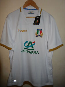 Sapin ITALIA ITALY 2017/18 Away White Replica Rugby Shirt bordure dorée Macron M
