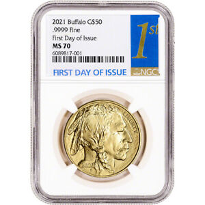 2021 American Gold Buffalo 1 oz $50 - NGC MS70 First Day of Issue 1st Label