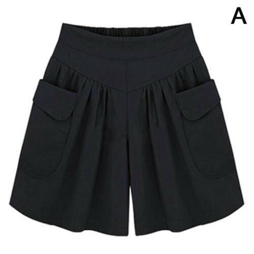 Plus fat XL wide leg shorts female summer loose soft cotton pocket shorts