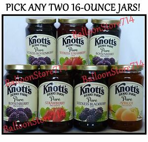 Pick-any-2-large-16-oz-jars-KNOTTS-BERRY-FARM-Jam-Preserves-Jelly-Knott-039-s