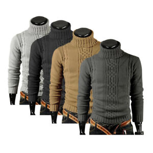 Fashion-Men-Winter-Knitted-Polo-Roll-Turtle-Neck-Pullover-Jumper-Woolen-Sweater