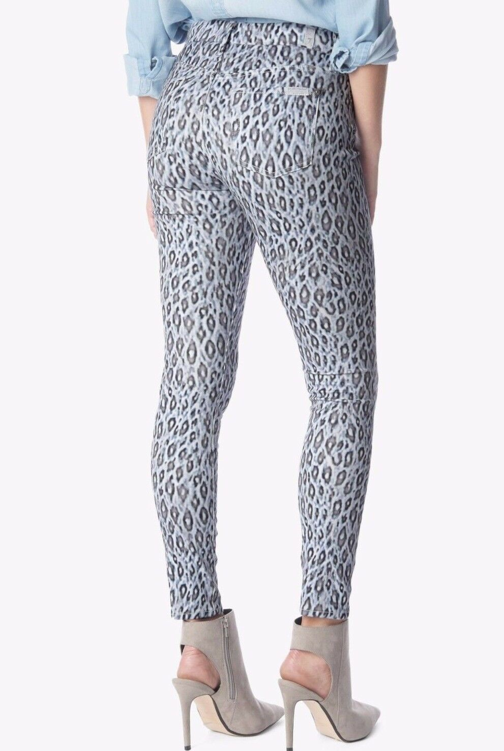 198 NWT 7 FOR ALL MANKIND Sz28 MIDRISE ANKLE SKINNY STRETCH JEANS ICE LEOPARD