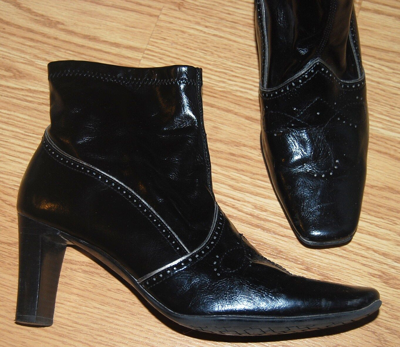 f72f5f6a1198 ETIENNE AIGNER Faux black VALID ETIENNE leather cozy rain Faux Western ANKLE  BOOTS 8.5 VALID  79 3057230